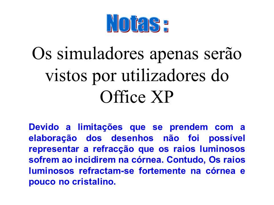 Os simuladores apenas serão vistos por utilizadores do Office XP Devido a limitações que se prendem com a elaboração dos desenhos não foi possível representar a refracção que os raios luminosos sofrem ao incidirem na córnea.
