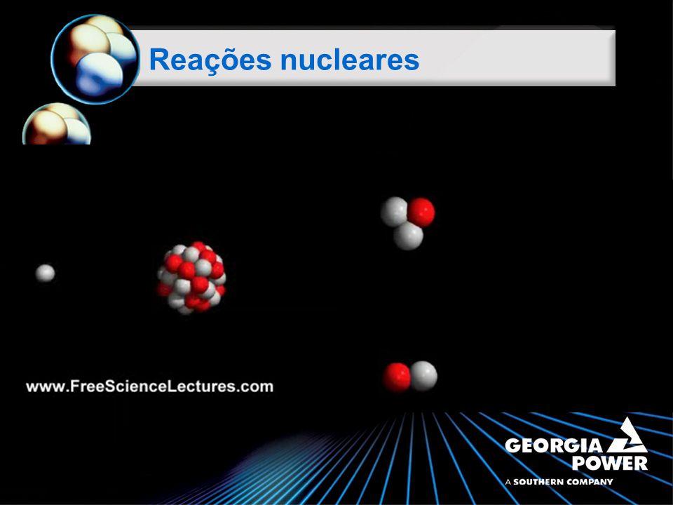 Lei da conservação do número de nucleões Escrita de reações nucleares A reagentes = A produtos de reação 2+1 = 3 Z reagentes = Z produtos de reação 1+1 = 2 Conservação da carga total