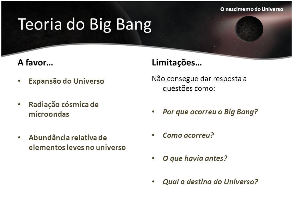 Teoria do Big Bang A favor… Expansão do Universo Radiação cósmica de microondas Abundância relativa de elementos leves no universo Limitações… Não con