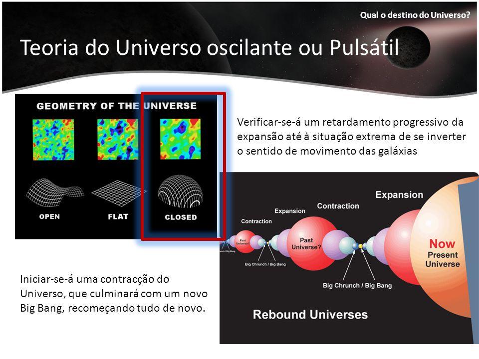 Teoria do Universo oscilante ou Pulsátil Qual o destino do Universo? Verificar-se-á um retardamento progressivo da expansão até à situação extrema de