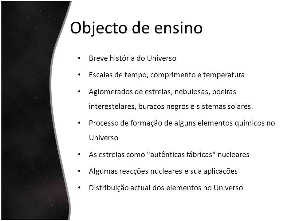 Objecto de ensino Breve história do Universo Escalas de tempo, comprimento e temperatura Aglomerados de estrelas, nebulosas, poeiras interestelares, b