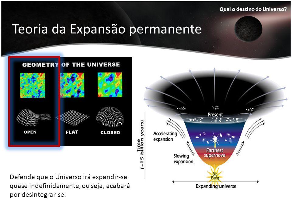 Teoria da Expansão permanente Qual o destino do Universo? Defende que o Universo irá expandir-se quase indefinidamente, ou seja, acabará por desintegr