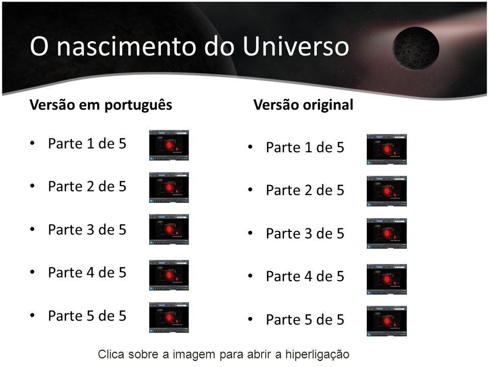 O nascimento do Universo Versão em português Parte 1 de 5 Parte 2 de 5 Parte 3 de 5 Parte 4 de 5 Parte 5 de 5 Versão original Parte 1 de 5 Parte 2 de