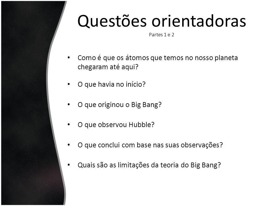 Questões orientadoras Partes 1 e 2 Após o Big Bang, nas primeiras fracções de segundo, o que existe no Universo.