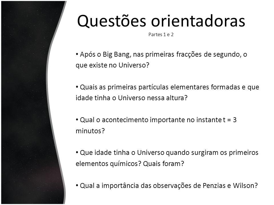 Questões orientadoras Partes 1 e 2 Após o Big Bang, nas primeiras fracções de segundo, o que existe no Universo? Quais as primeiras partículas element