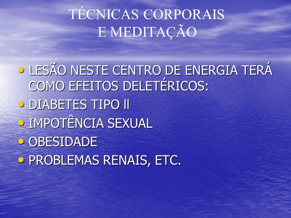 TÉCNICAS CORPORAIS E MEDITAÇÃO LESÃO NESTE CENTRO DE ENERGIA TERÁ COMO EFEITOS DELETÉRICOS: LESÃO NESTE CENTRO DE ENERGIA TERÁ COMO EFEITOS DELETÉRICOS: DIABETES TIPO ll DIABETES TIPO ll IMPOTÊNCIA SEXUAL IMPOTÊNCIA SEXUAL OBESIDADE OBESIDADE PROBLEMAS RENAIS, ETC.