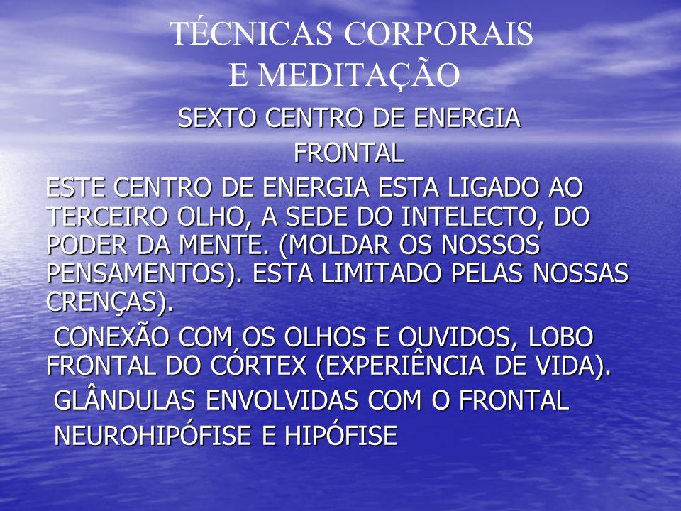 TÉCNICAS CORPORAIS E MEDITAÇÃO SEXTO CENTRO DE ENERGIA SEXTO CENTRO DE ENERGIA FRONTAL FRONTAL ESTE CENTRO DE ENERGIA ESTA LIGADO AO TERCEIRO OLHO, A SEDE DO INTELECTO, DO PODER DA MENTE.