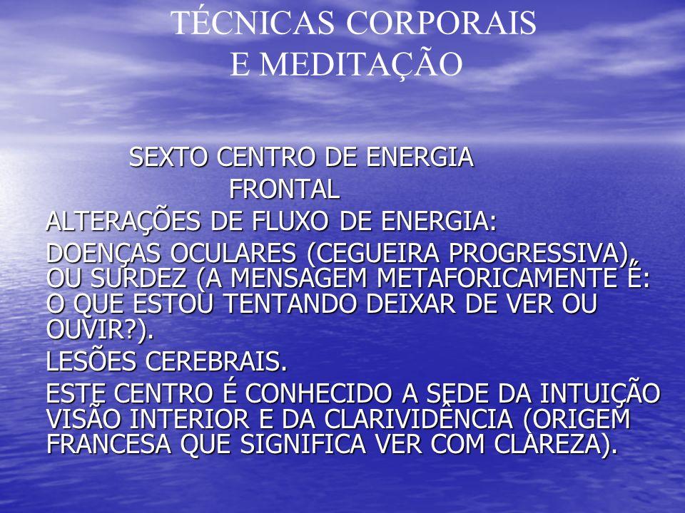 TÉCNICAS CORPORAIS E MEDITAÇÃO SEXTO CENTRO DE ENERGIA SEXTO CENTRO DE ENERGIA FRONTAL FRONTAL ALTERAÇÕES DE FLUXO DE ENERGIA: ALTERAÇÕES DE FLUXO DE