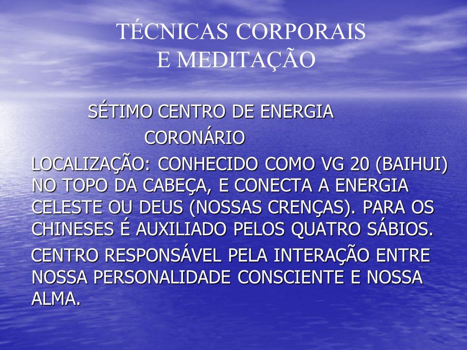 TÉCNICAS CORPORAIS E MEDITAÇÃO SÉTIMO CENTRO DE ENERGIA SÉTIMO CENTRO DE ENERGIA CORONÁRIO CORONÁRIO LOCALIZAÇÃO: CONHECIDO COMO VG 20 (BAIHUI) NO TOPO DA CABEÇA, E CONECTA A ENERGIA CELESTE OU DEUS (NOSSAS CRENÇAS).