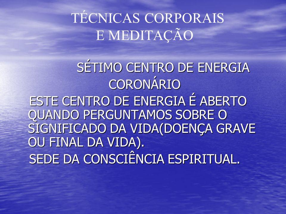 TÉCNICAS CORPORAIS E MEDITAÇÃO SÉTIMO CENTRO DE ENERGIA SÉTIMO CENTRO DE ENERGIA CORONÁRIO CORONÁRIO ESTE CENTRO DE ENERGIA É ABERTO QUANDO PERGUNTAMO