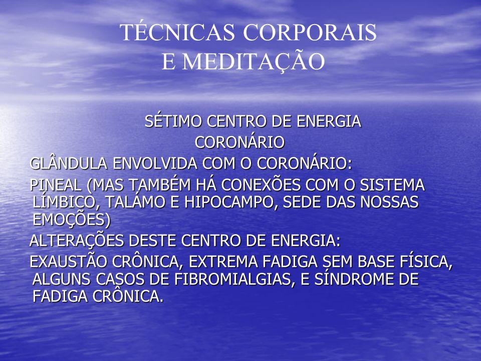 TÉCNICAS CORPORAIS E MEDITAÇÃO SÉTIMO CENTRO DE ENERGIA SÉTIMO CENTRO DE ENERGIA CORONÁRIO CORONÁRIO GLÂNDULA ENVOLVIDA COM O CORONÁRIO: GLÂNDULA ENVOLVIDA COM O CORONÁRIO: PINEAL (MAS TAMBÉM HÁ CONEXÕES COM O SISTEMA LÍMBICO, TALÁMO E HIPOCAMPO, SEDE DAS NOSSAS EMOÇÕES) PINEAL (MAS TAMBÉM HÁ CONEXÕES COM O SISTEMA LÍMBICO, TALÁMO E HIPOCAMPO, SEDE DAS NOSSAS EMOÇÕES) ALTERAÇÕES DESTE CENTRO DE ENERGIA: ALTERAÇÕES DESTE CENTRO DE ENERGIA: EXAUSTÃO CRÔNICA, EXTREMA FADIGA SEM BASE FÍSICA, ALGUNS CASOS DE FIBROMIALGIAS, E SÍNDROME DE FADIGA CRÔNICA.