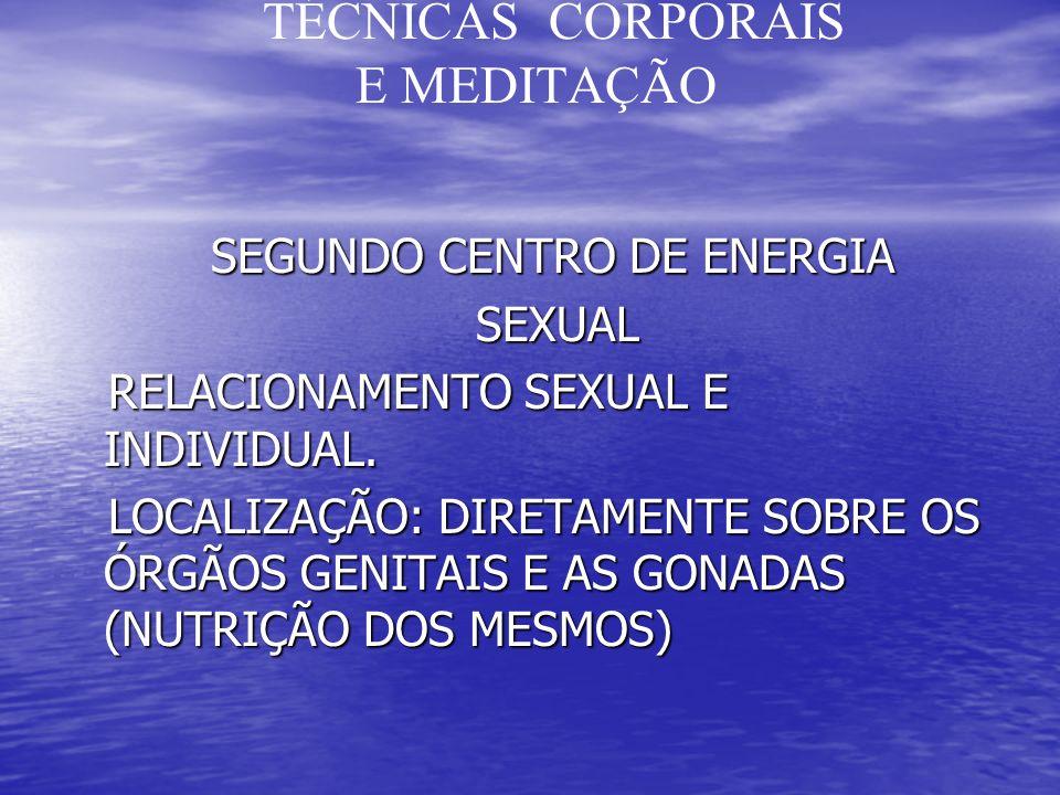 TÉCNICAS CORPORAIS E MEDITAÇÃO SEGUNDO CENTRO DE ENERGIA SEGUNDO CENTRO DE ENERGIA SEXUAL SEXUAL RELACIONAMENTO SEXUAL E INDIVIDUAL.