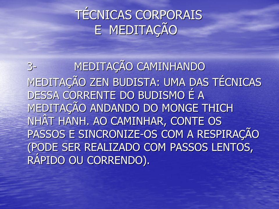 TÉCNICAS CORPORAIS E MEDITAÇÃO TÉCNICAS CORPORAIS E MEDITAÇÃO 3- MEDITAÇÃO CAMINHANDO 3- MEDITAÇÃO CAMINHANDO MEDITAÇÃO ZEN BUDISTA: UMA DAS TÉCNICAS