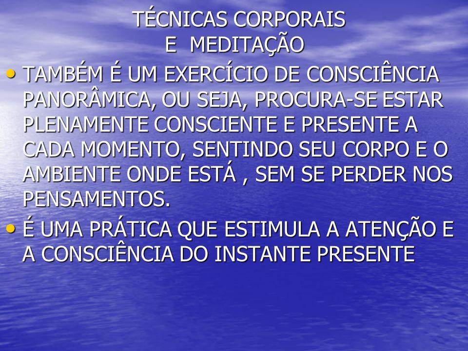 TÉCNICAS CORPORAIS E MEDITAÇÃO TÉCNICAS CORPORAIS E MEDITAÇÃO TAMBÉM É UM EXERCÍCIO DE CONSCIÊNCIA PANORÂMICA, OU SEJA, PROCURA-SE ESTAR PLENAMENTE CO