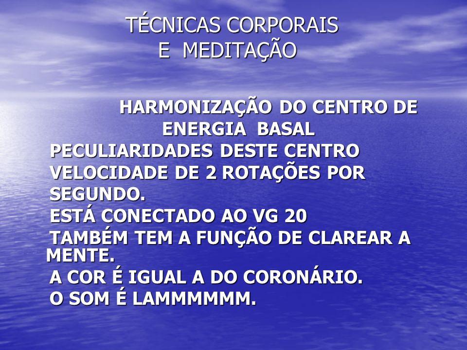 TÉCNICAS CORPORAIS E MEDITAÇÃO TÉCNICAS CORPORAIS E MEDITAÇÃO HARMONIZAÇÃO DO CENTRO DE HARMONIZAÇÃO DO CENTRO DE ENERGIA BASAL ENERGIA BASAL PECULIAR