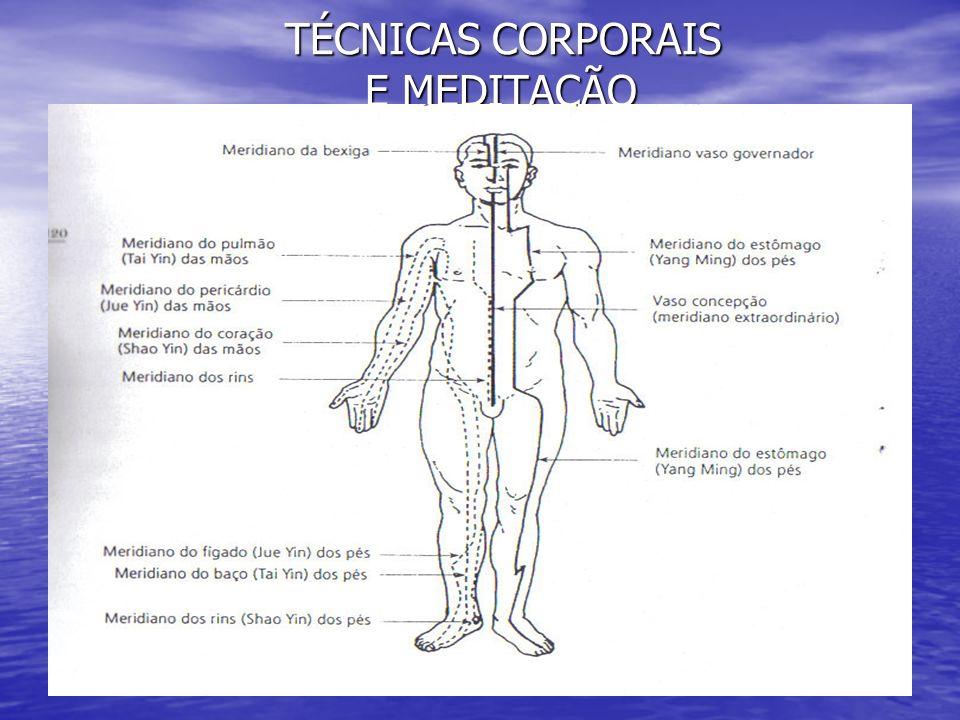 TÉCNICAS CORPORAIS E MEDITAÇÃO TÉCNICAS CORPORAIS E MEDITAÇÃO POSICIONAMENTO POSICIONAMENTO BASTA AO PRATICANTE ADOTAR POSTURA CONFORTÁVEL SENTADO, DE PÉ, LÍNGUA NO CÉU DA BOCA, POSTURA RETA COM O PONTO MAIS ALTO DA CABEÇA EM ALINHAMENTO COM A REGIÃO DO ÂNUS, RESPIRAÇÃO ABDOMINAL, E ¨TENTAR NÃO PENSAR¨.