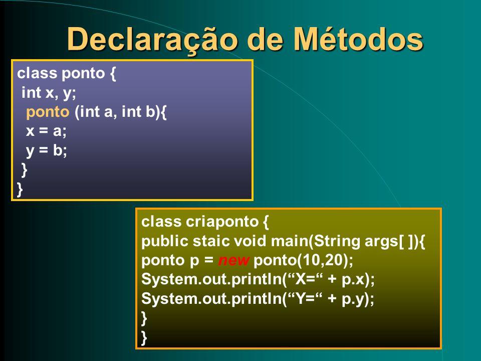 Declaração de Métodos Declaração de Métodos class ponto { int x, y; ponto (int a, int b){ x = a; y = b; } class criaponto { public staic void main(Str