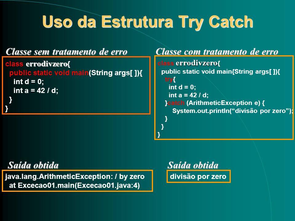 Uso da Estrutura Try Catch errodivzero class errodivzero { public static void main(String args[ ]){ int d = 0; int a = 42 / d; } java.lang.ArithmeticE