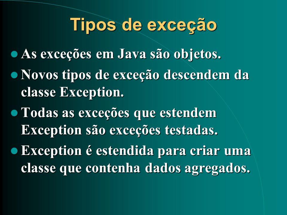 Tipos de exceção As exceções em Java são objetos. As exceções em Java são objetos. Novos tipos de exceção descendem da classe Exception. Novos tipos d