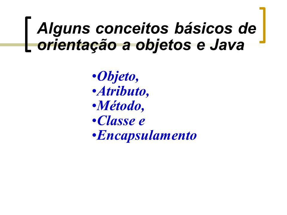 Alguns conceitos básicos de orientação a objetos e Java Objeto, Atributo, Método, Classe e Encapsulamento