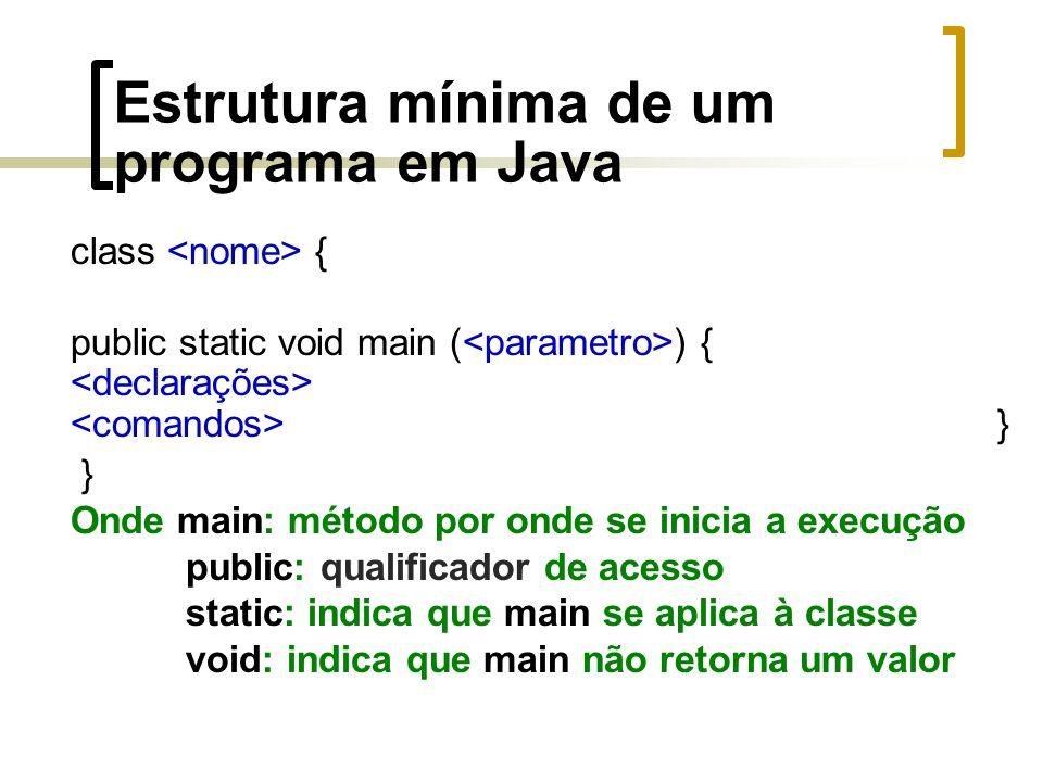 Estrutura mínima de um programa em Java class { public static void main ( ) { } } Onde main: método por onde se inicia a execução public: qualificador de acesso static: indica que main se aplica à classe void: indica que main não retorna um valor