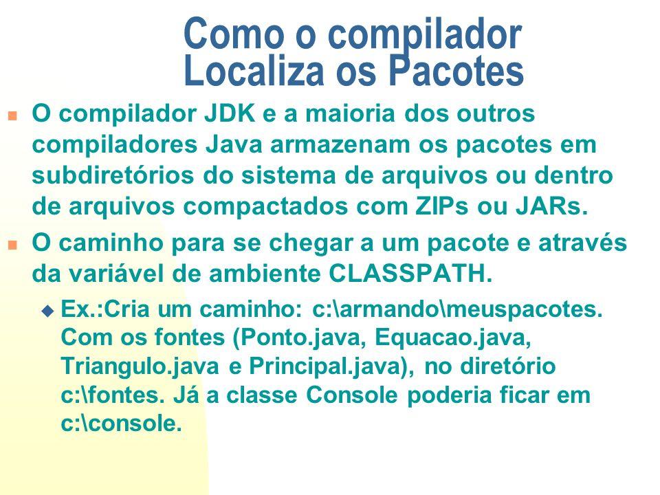 Como o compilador Localiza os Pacotes O compilador JDK e a maioria dos outros compiladores Java armazenam os pacotes em subdiretórios do sistema de ar