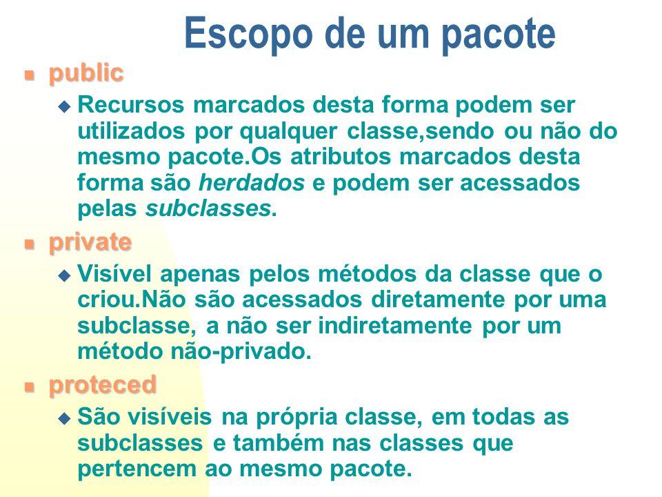 Escopo de um pacote public public Recursos marcados desta forma podem ser utilizados por qualquer classe,sendo ou não do mesmo pacote.Os atributos mar