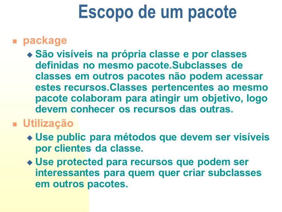 Escopo de um pacote package São visíveis na própria classe e por classes definidas no mesmo pacote.Subclasses de classes em outros pacotes não podem a