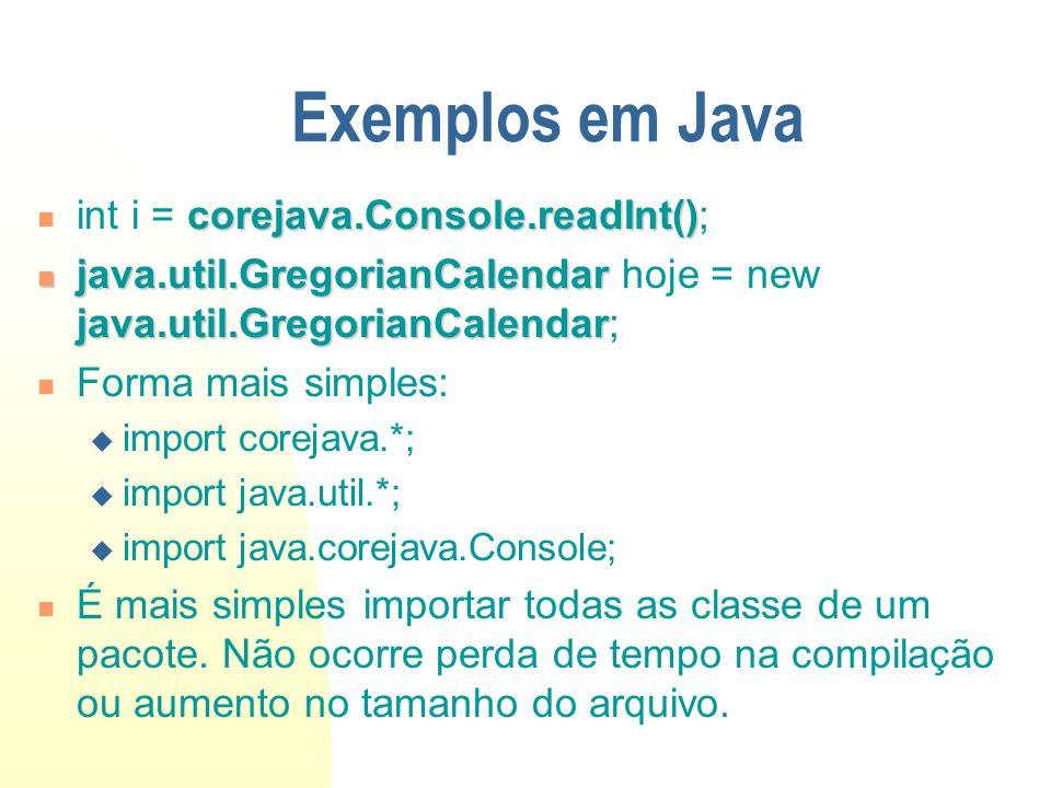 Exemplos em Java corejava.Console.readInt() int i = corejava.Console.readInt(); java.util.GregorianCalendar java.util.GregorianCalendar java.util.Greg