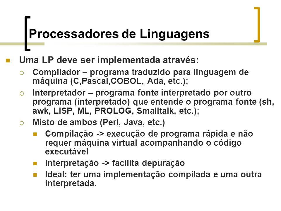 Processadores de Linguagens Uma LP deve ser implementada através: Compilador – programa traduzido para linguagem de máquina (C,Pascal,COBOL, Ada, etc.); Interpretador – programa fonte interpretado por outro programa (interpretado) que entende o programa fonte (sh, awk, LISP, ML, PROLOG, Smalltalk, etc.); Misto de ambos (Perl, Java, etc.) Compilação -> execução de programa rápida e não requer máquina virtual acompanhando o código executável Interpretação -> facilita depuração Ideal: ter uma implementação compilada e uma outra interpretada.