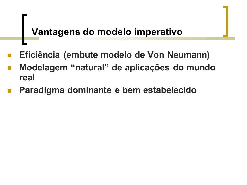 Vantagens do modelo imperativo Eficiência (embute modelo de Von Neumann) Modelagem natural de aplicações do mundo real Paradigma dominante e bem estabelecido