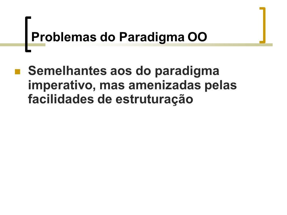 Problemas do Paradigma OO Semelhantes aos do paradigma imperativo, mas amenizadas pelas facilidades de estruturação