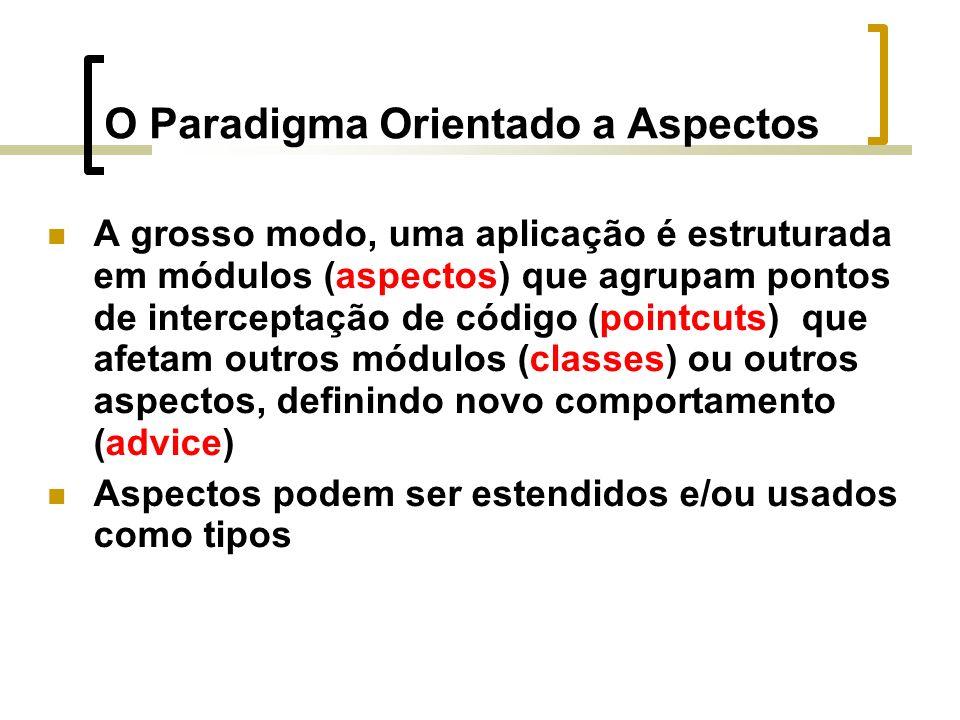 O Paradigma Orientado a Aspectos A grosso modo, uma aplicação é estruturada em módulos (aspectos) que agrupam pontos de interceptação de código (pointcuts) que afetam outros módulos (classes) ou outros aspectos, definindo novo comportamento (advice) Aspectos podem ser estendidos e/ou usados como tipos