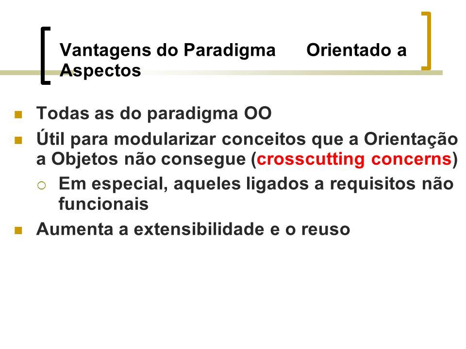 Vantagens do Paradigma Orientado a Aspectos Todas as do paradigma OO Útil para modularizar conceitos que a Orientação a Objetos não consegue (crosscutting concerns) Em especial, aqueles ligados a requisitos não funcionais Aumenta a extensibilidade e o reuso
