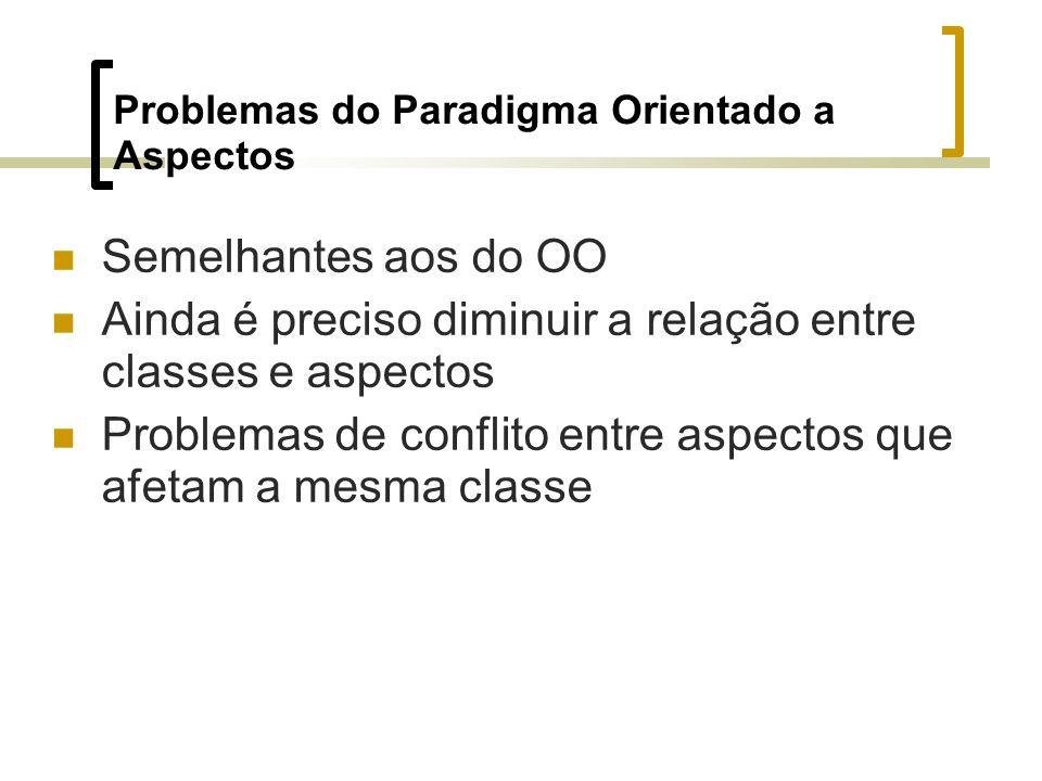 Problemas do Paradigma Orientado a Aspectos Semelhantes aos do OO Ainda é preciso diminuir a relação entre classes e aspectos Problemas de conflito entre aspectos que afetam a mesma classe