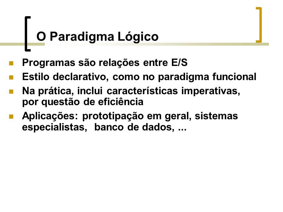 O Paradigma Lógico Programas são relações entre E/S Estilo declarativo, como no paradigma funcional Na prática, inclui características imperativas, por questão de eficiência Aplicações: prototipação em geral, sistemas especialistas, banco de dados,...