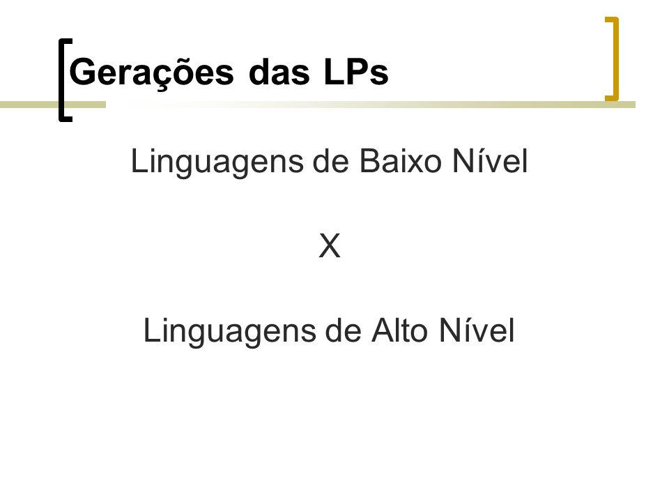 Gerações das LPs Linguagens de Baixo Nível X Linguagens de Alto Nível