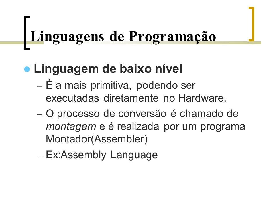 Linguagens de Programação Linguagem de baixo nível – É a mais primitiva, podendo ser executadas diretamente no Hardware.