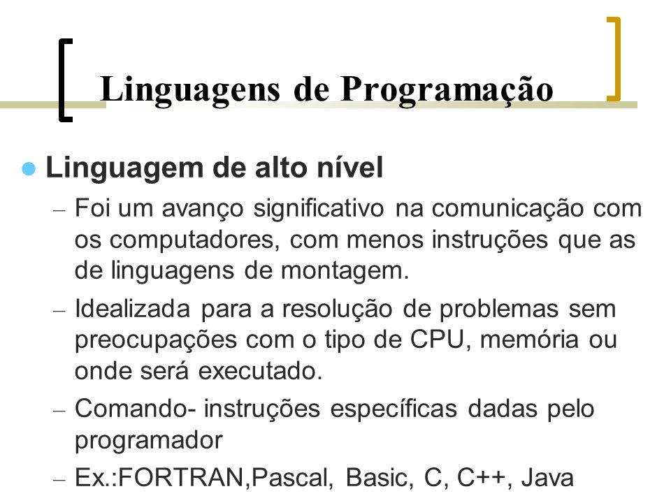 Linguagens de Programação Linguagem de alto nível – Foi um avanço significativo na comunicação com os computadores, com menos instruções que as de linguagens de montagem.