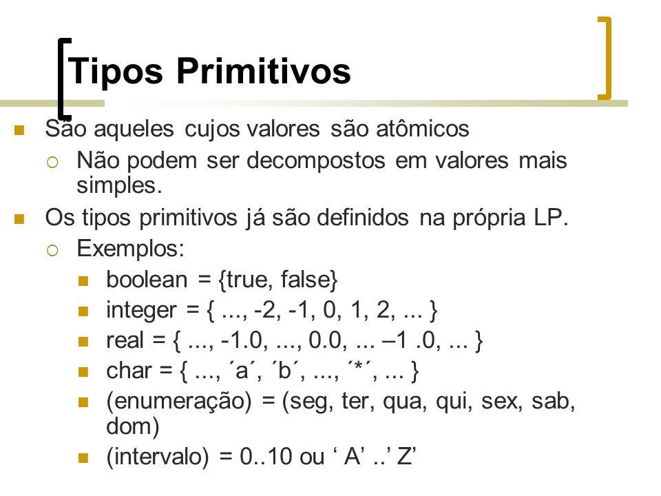 Tipos Primitivos São aqueles cujos valores são atômicos Não podem ser decompostos em valores mais simples.