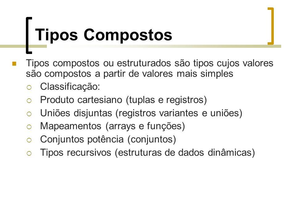 Tipos Compostos Tipos compostos ou estruturados são tipos cujos valores são compostos a partir de valores mais simples Classificação: Produto cartesiano (tuplas e registros) Uniões disjuntas (registros variantes e uniões) Mapeamentos (arrays e funções) Conjuntos potência (conjuntos) Tipos recursivos (estruturas de dados dinâmicas)