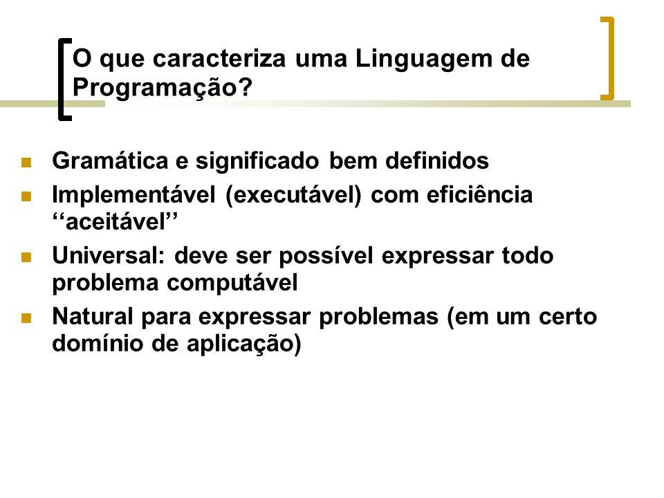 O que caracteriza uma Linguagem de Programação.