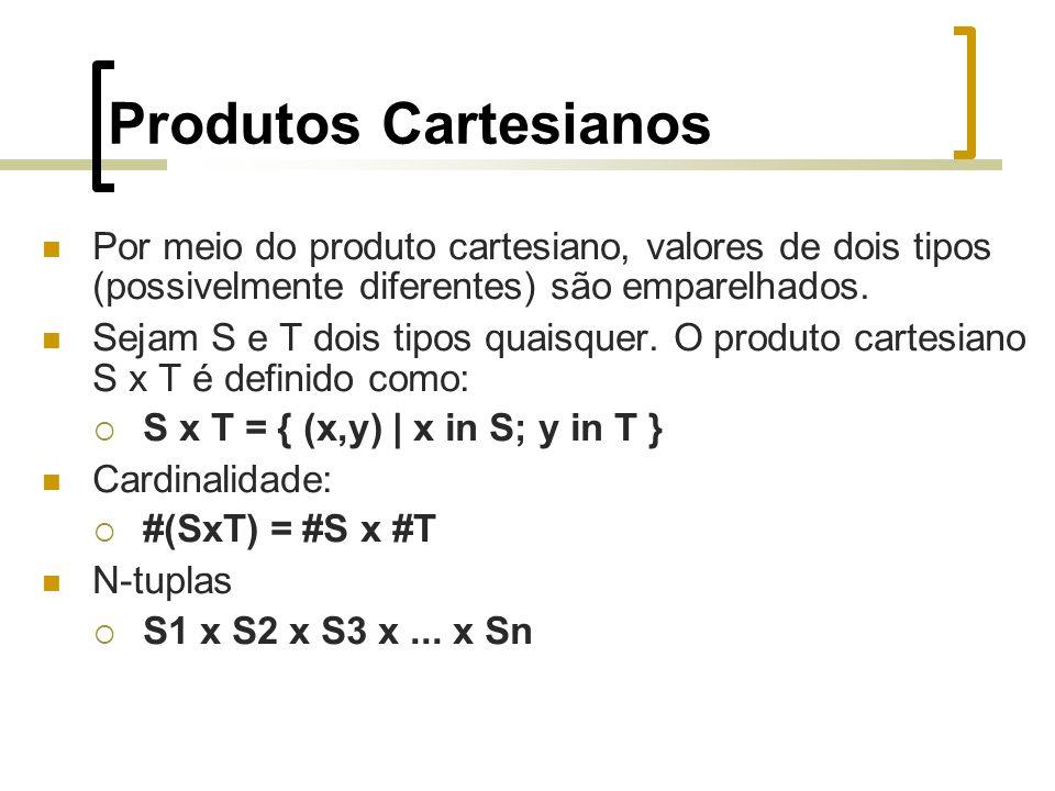 Produtos Cartesianos Por meio do produto cartesiano, valores de dois tipos (possivelmente diferentes) são emparelhados.