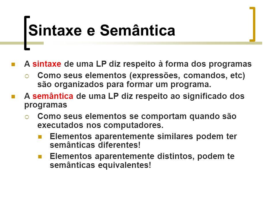 Sintaxe e Semântica A sintaxe de uma LP diz respeito à forma dos programas Como seus elementos (expressões, comandos, etc) são organizados para formar um programa.