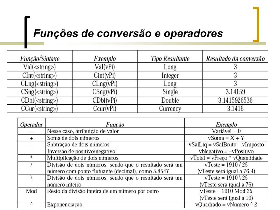 Funções de conversão e operadores