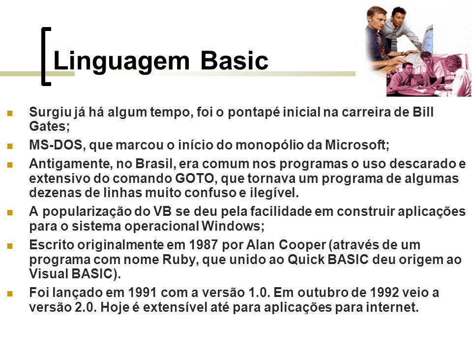 Linguagem Basic Surgiu já há algum tempo, foi o pontapé inicial na carreira de Bill Gates; MS-DOS, que marcou o início do monopólio da Microsoft; Antigamente, no Brasil, era comum nos programas o uso descarado e extensivo do comando GOTO, que tornava um programa de algumas dezenas de linhas muito confuso e ilegível.