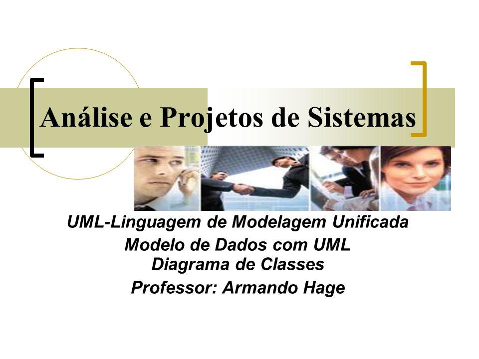 Análise e Projetos de Sistemas UML-Linguagem de Modelagem Unificada Modelo de Dados com UML Diagrama de Classes Professor: Armando Hage