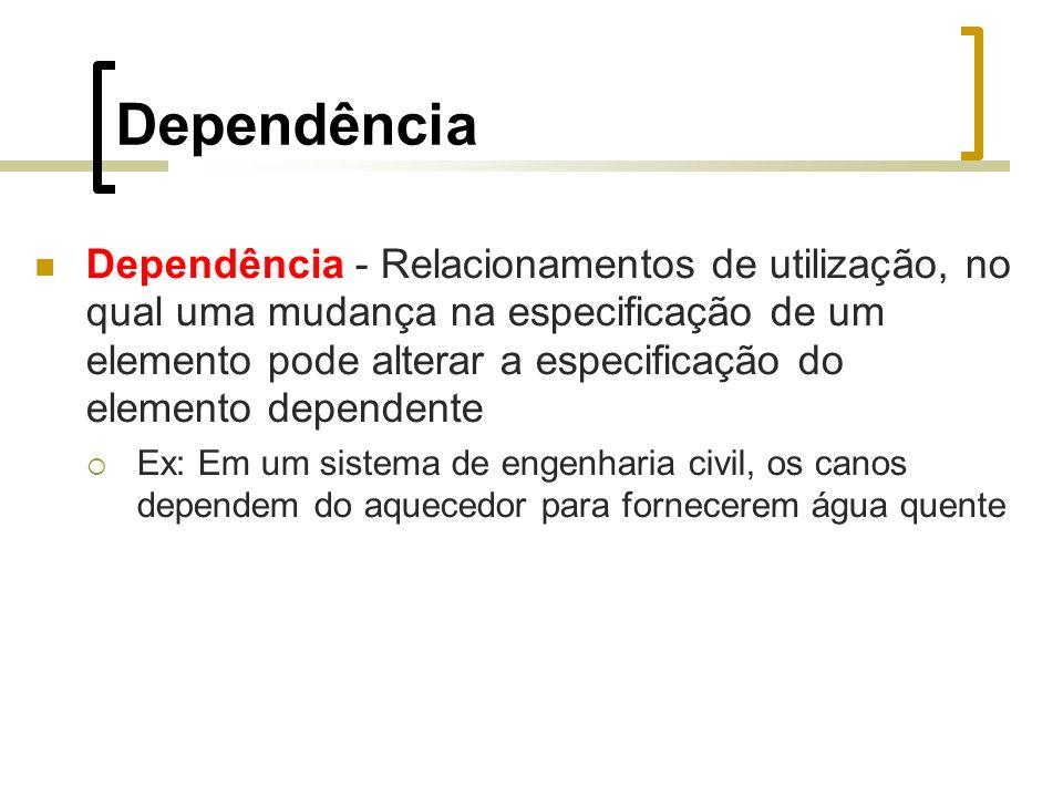 Dependência Dependência - Relacionamentos de utilização, no qual uma mudança na especificação de um elemento pode alterar a especificação do elemento dependente Ex: Em um sistema de engenharia civil, os canos dependem do aquecedor para fornecerem água quente