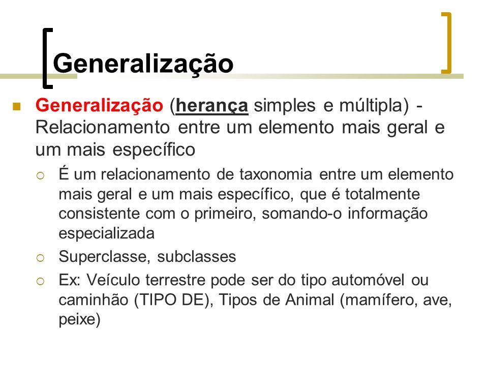 Generalização Generalização (herança simples e múltipla) - Relacionamento entre um elemento mais geral e um mais específico É um relacionamento de tax