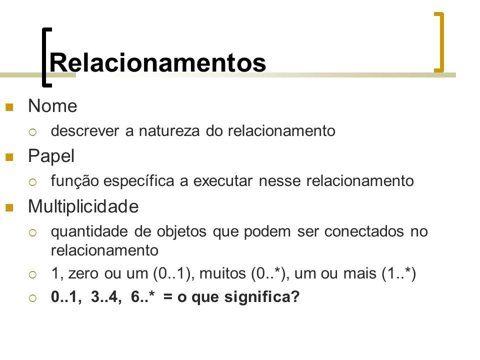 Relacionamentos Nome descrever a natureza do relacionamento Papel função específica a executar nesse relacionamento Multiplicidade quantidade de objetos que podem ser conectados no relacionamento 1, zero ou um (0..1), muitos (0..*), um ou mais (1..*) 0..1, 3..4, 6..* = o que significa